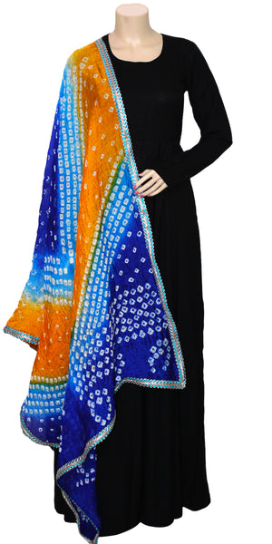 Buy designer Jaipuri Bandhani dupattas, stoles & chunnis at the best rates in the USA & Canada. Bright Multicolor Art silk dupatta tie & dye fancy Zari border. Ethnic Indian traditional wedding party festival fashion suit wrap accessories handloom light elegant handwork trendy anniversary design stylish shop online