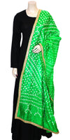 Buy designer Jaipuri Bandhani dupattas, stoles & chunnis at the best rates in the USA & Canada. Bright Multicolor Art silk dupatta tie & dye golden Zari border. Ethnic Indian traditional wedding party festival fashion suit wrap accessories handloom light elegant handwork trendy anniversary design stylish shop online