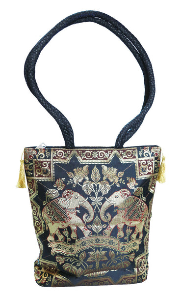 Gold, Black and Maroon Art Silk Brocade Women's Handbag/shoulder bag