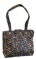 Gold and Black Color Banarasi Art Silk Womens Handbag/Purses