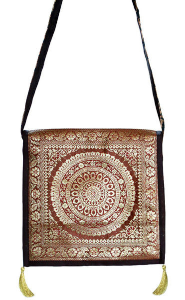 Gold and Maroon Color Art Silk Brocade Women's Handbag/Sling Bag