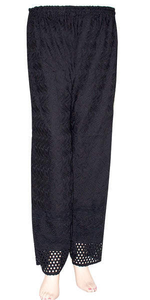 Black Color Cotton Chicken Embroidered Casual Wear Women's Palazzo Pants