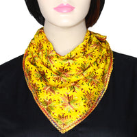 Yellow Phulkari Chiffon Scarf with Lace & Sequins