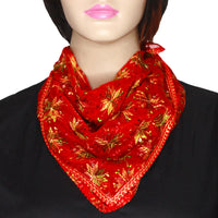Red Phulkari Chiffon Scarf with Lace & Sequins