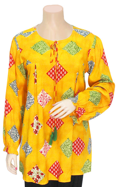 Yellow Block Print Full Sleeves Kurti/Tunic