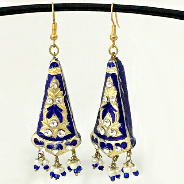 Blue & Golden color Hand-made Lakh/Lac Earrings