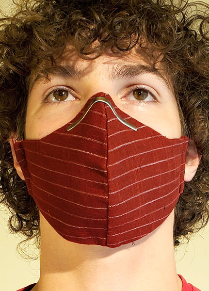 Buy comfortable & breathable cotton face masks at the best rates in the USA & Canada. Maroon abstract geometric Print 2 layers pure 100% cotton cloth fabric elastic behind ear washable reusable double layered non surgical handmade fashionable designer stylish unisex nose bridge soft made in usa shop online sale darpaha