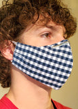 Buy comfortable & breathable cotton face masks at the best rates in the USA & Canada. Blue & White Check Print 2 layers pure 100% cotton cloth fabric elastic behind ear washable reusable double layered non surgical handmade fashionable designer stylish unisex nose bridge soft made in usa unique shop online sale darpaha