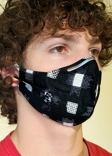 Black Square Print Cotton Face Mask