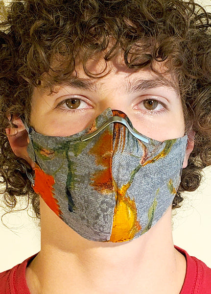 Grey Cotton Face Mask with Multi Color Abstract Print