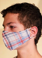 Buy comfortable & breathable cotton face masks at the best rates in the USA & Canada. Multi Color check Print 2 layers pure 100% cotton cloth fabric elastic behind ear washable reusable double layered non surgical handmade fashionable designer stylish fashion unisex nose bridge soft made in usa shop online sale darpaha