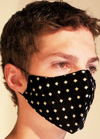 Buy comfortable & breathable cotton face masks at the best rates in the USA & Canada. Black geometric printed 2 layers pure 100% cotton cloth fabric elastic behind ear washable reusable double layered non surgical handmade fashionable chic designer stylish unisex men's women's soft made in usa shop online sale darpaha