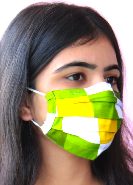 Multi Color Check Print DIY Rayon Pleated Face Mask