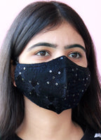 Black Phulkari Embroidery Face Mask