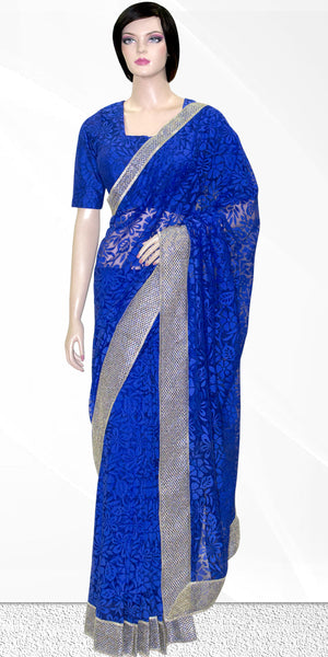 Shop online for designer Indian Sarees/Saris at the best rates in USA & Canada. Blue Brasso Net Sari with floral patterns heavy silver zari border petticoat fall matching ethnic traditional wedding party festival fashion evening occasion outfit dress function stylish bridesmaid buy figure body hugging Darpaha Sale