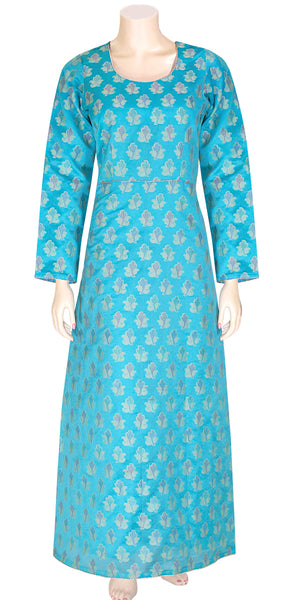 Blue Banarasi Silk Anarkali Dress