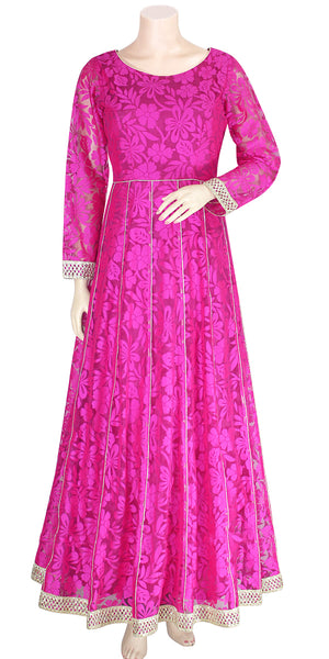 Buy designer Indian fashion gowns & Maxi dresses at the best rates in the USA & Canada. Net long dress with beautiful flower design motif gota border Anarkali Ethnic Indian traditional dresses for festivals weddings & parties Fully Stitched Magenta Full sleeves boat neck Lace styles indo-western Darpaha. Sale.