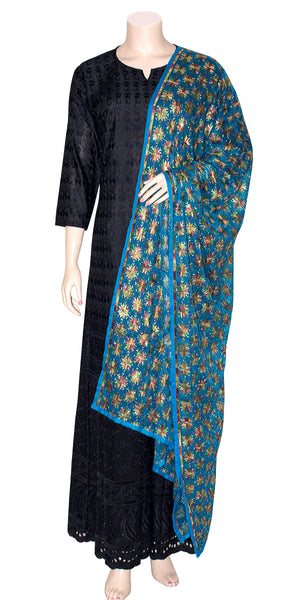 Sky blue Phulkari Dupatta/wrap Stole with all over Multicolored Embroidery| Chiffon Dupatta/stole