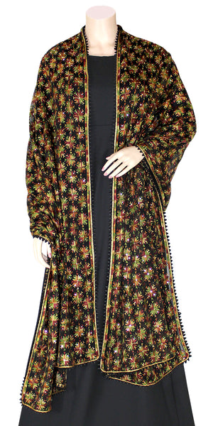 Black Color Phulkari Dupatta/wrap with all over Multicolored Embroidery