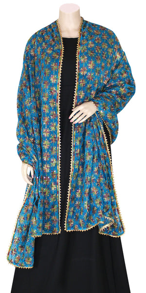Firozi Color Phulkari Dupatta/wrap with all over Multicolored Embroidery
