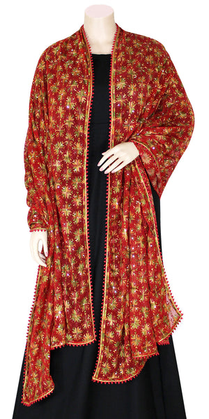 Red Color Phulkari Dupatta/wrap with all over Multicolored Embroidery