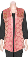 Hot-pink and Golden Color Jacquard Weaving art silk Front Open Jacket/Kimono Top