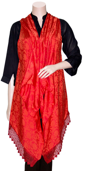 Red Color Jacquard Silk Front Open Kimono Top, Shawl-dress/Evening Wrap