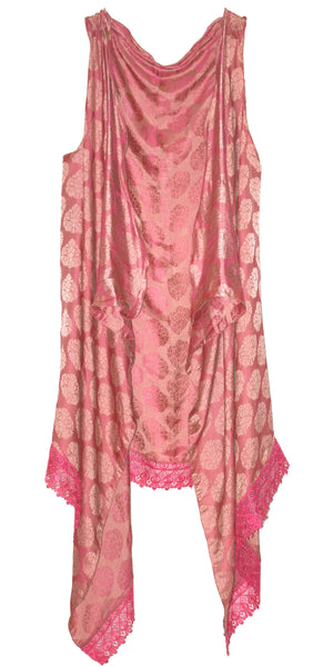Hot-pink color Jacquard Art-Silk Front Open Kimono shrug/Top, Shawl-dress/Evening Wrap