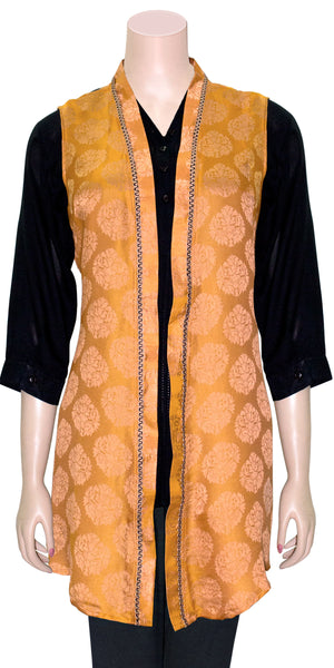 Sandy brown Color Jacquard Weaving art silk Front Open Jacket/Kimono Top