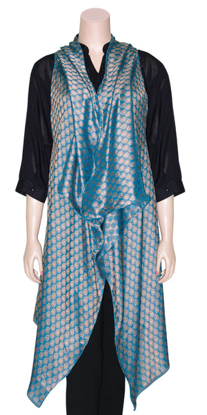 Bright Golden & Sky-blue Color Jacquard Art Silk Floaty Front Open Kimono Top/Maxi Cardigan Jacket
