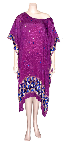 Purple Georgette Phulkari Kaftan Dress