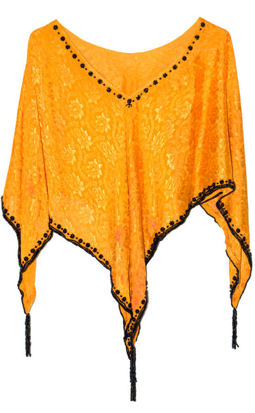 Hand-made Orange Color Silk Georgette Poncho Top with Black Beads Work