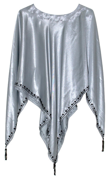 Designer Hand-made Silver Color Simmer Silk Poncho Top