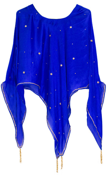 Buy designer Ponchos & Wraps at the best rates in the USA & Canada. Royal Blue Georgette round neck Poncho golden lace Tassels beads stylish modern Indian ethnic fashionable poncho tops for festivals & parties unique custom pieces mexican fashion women gifts for her affordable minimalistic BOHO Bohemian Darpaha Sale