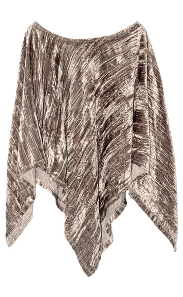 Silver Gary Color Soft & fine Quality Crushed Velvet Boat shaped neck Poncho Top
