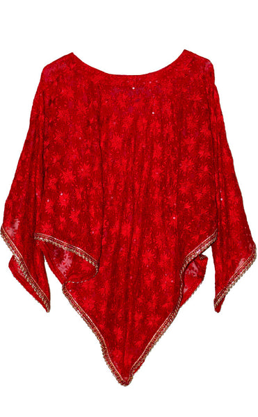 All over Phulkari embroidered & sequins work Red color Poncho top