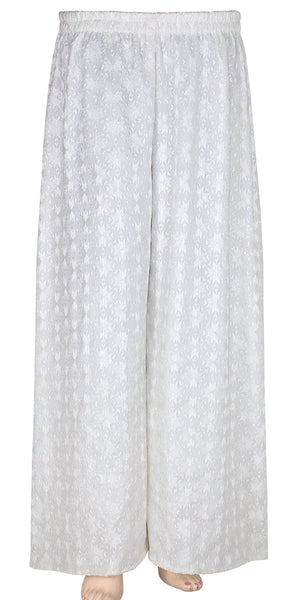 White Phulkari Embroidered Wide Leg Palazzo Pants
