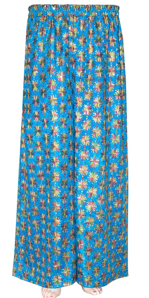 Blue Phulkari Embroidered Wide Leg Palazzo Pants with Pocket