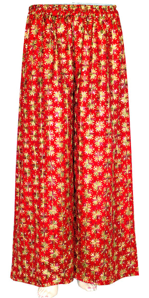 Red Phulkari Embroidered Wide Leg Palazzo Pants with Pocket