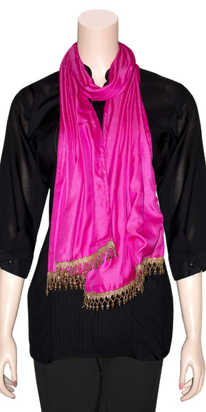 Handmade Pearl Fringe Work Hot-pink Color Viscose silk Stole/Scarf/Hijab.