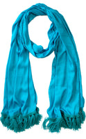 Sky Blue color Viscose silk Stole/Scarf/Tippets with Crochet work