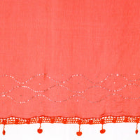 Orange-red color Chiffon Scarf/Dupatta with Crochet and Mukeish/Badla work
