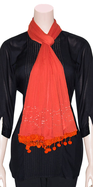 Orange-red color Chiffon Scarf/Dupatta with Crochet and Mukeish/Badla work HMS17740