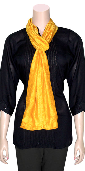 Orange Color jacquard Silk Lightweight Scarf/Scarves/Stole