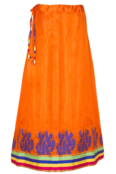 Bright Orange Floral Jacquard Silk Long Skirt