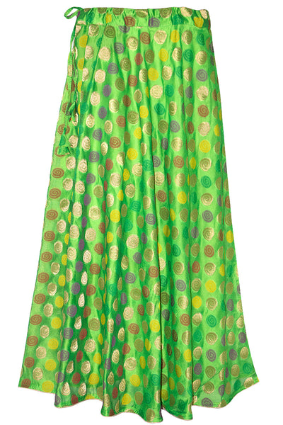 Green Color, Umbrella Cut, Spiral Design Womne's Lehenga Skirt HMS18528