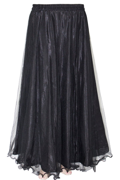 Black Color, Flare Bottom, Elastic Waist Women's Floor Length Skirt HMS18534