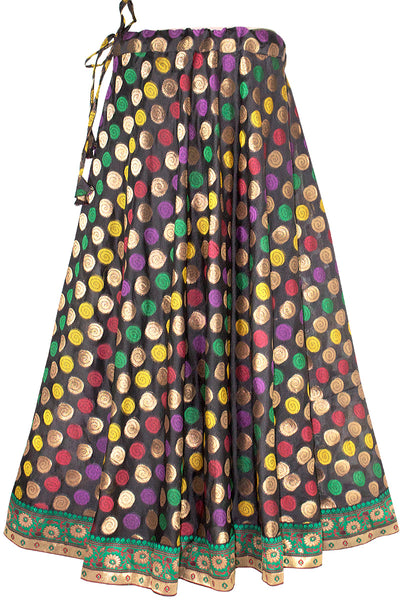 Black Color, Umbrella Cut, Womne's Long Skirt with multicolor Banarasi borderline HMS18536