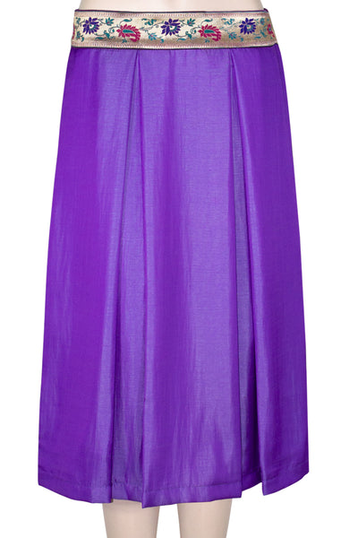 Purple Color Fit and Flare Box Pleated knee length Skirt for Women's and Girls