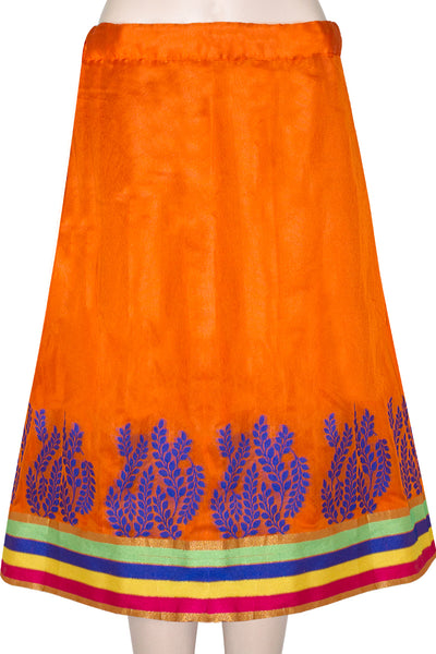Shop online for designer Indian Banarasi Lehenga skirts at the best rates in USA & Canada. Bright Orange Blue Art Jacquard Silk flared skirt leaf pattern rainbow border umbrella cut side zip closure waist short knee mini length chanderi ethnic traditional festivals wedding party multicolor bridesmaid shiny Sale Darpaha